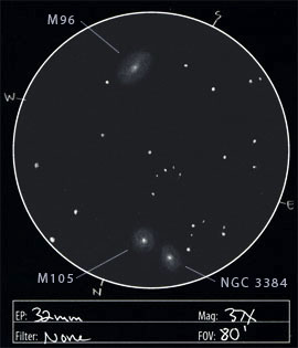 Leo I Galaxy Cluster Showing Messier 95, Messier 96, And Messier ...