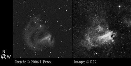 Sketch/DSS Photo Comparison of Messier 17 (M17 - Swan Nebula)