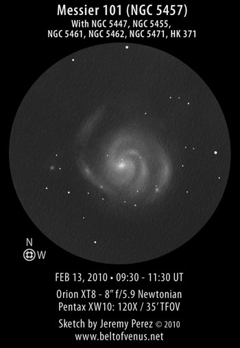 Sketch of Messier 101 (NGC 5457 / Pinwheel Galaxy)