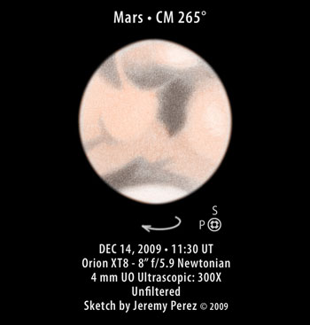 Sketch of Mars - CM 265 Degrees - DEC 14, 2009 - 11:30 UT
