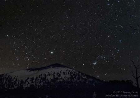 Photo of Orion and Canis Major over Sunset Crater