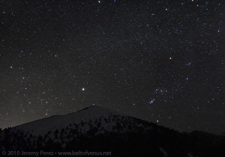Photo of Orion, Canis Major, and the Winter Milky Way over Sunset Crater
