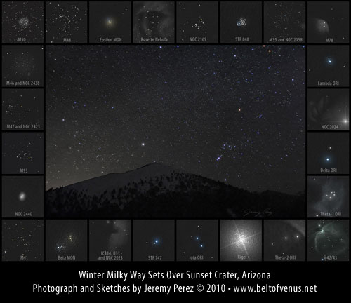 Photograph of Winter Milky Way over Sunset Crater, including sketches of deep sky objects in the area.
