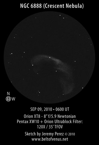 Sketch of NGC 6888 (The Crescent Nebula)