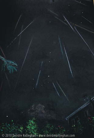 Sketch of 2010 Perseids by Deirdre Kelleghan