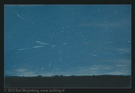 Sketch of 2010 Perseids by Roel Weijenberg