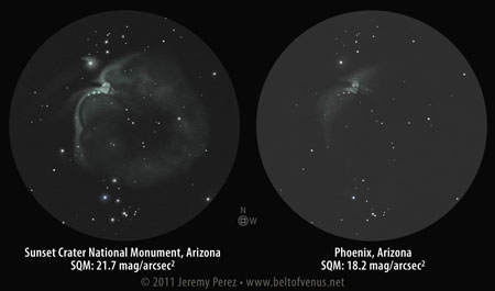 Positive Sketches of Messier 42/43 from dark sky and light polluted sky