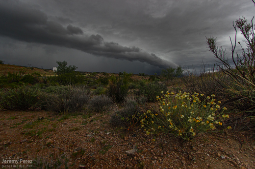 A shelf cloud lines up along Highway 93. View is to the north. 8:45 AM / 1545Z