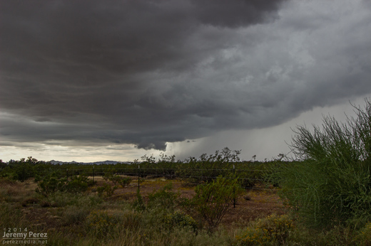 A wall cloud begins to form beside the forward flank of an approaching supercell. As seen from Highway 89 between Wickenburg and Congress looking southwest. 11:25 AM / 1825Z