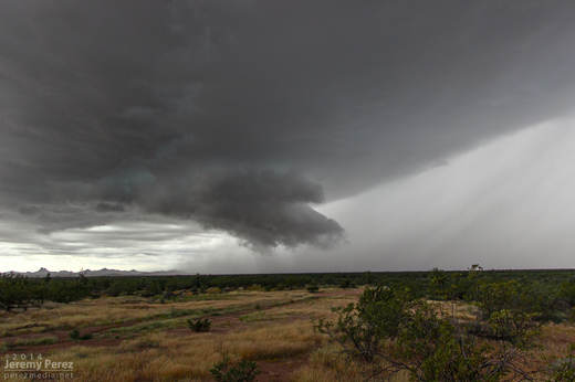 Wall cloud on a supercell north of Wickenburg. As seen from Highway 89 facing southwest. 11:30 AM / 1830Z
