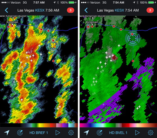 Reflectivity and velocity radar of the embedded mesocyclone. 7:54 AM / 1454Z