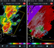 Reflectivity and velocity radar of the Wickenburg supercell. 11:32 AM / 1832Z