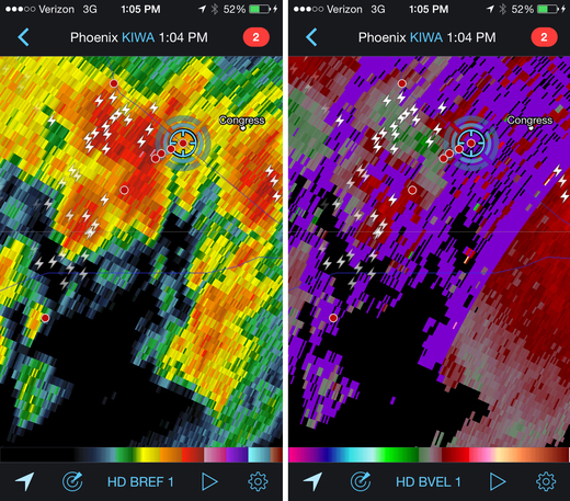 Reflectivity and velocity radar of broad circulation in a passing storm. 1:04 PM / 2004Z